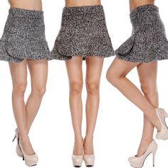 Fashion Girl Lady Womens Casual Fitness Mini Skirts High Waist Wool Blend Asymmetrical Short Dress