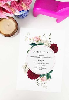 This burgundy floral wedding invitation by Sail and Swan Studio features blush pink roses, burgundy dahlia flowers, green leaves, cream hydrangeas and other greenery. They are perfect for an outdoor wedding such as a garden, forest, or woodland wedding, but also have a modern look and feel that makes them versatile across the board for any floral or botanical theme. Wedding Invitations Australia, Burgundy Wedding Invitations, Elegant Wedding Invitations, Wedding Stationery, Forest Wedding Decorations, Woodland Wedding, Dahlia Flowers, Pink Roses