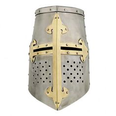 Great Helm fleur-de-lis The pot helmet - sometimes barrel or bucket helmet helmet called - was a form of head protection, by the early 13th to the 15th Century into common. Changed fighting techniques result in the Crusades and the use of heavy lances a full head covering made mandatory. Often, the cylindrical bucket helmets, often possessed only by narrow slits, were worn as a second helmet or a hood brain Ringmail hood, resulting in a penetration of sword or lance was almost impossible.