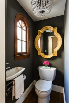 Black and Charcoal Gray Paint Colors...great idea to make a small bth rm look lux