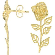 14K gold flower ear climbers