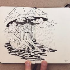 When things feel Hopeless. Moleskine Black and White Ink Drawings. By Francisco Del Carpio.