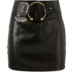 Anthony Vaccarello Embellished Black Leather Mini Skirt (€1.000) ❤ liked on Polyvore featuring skirts, mini skirts, short leather skirt, leather skirt, real leather skirt, short skirts and leather miniskirt