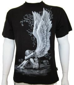Spiral Enslaved Angel Wings Goth Tattoo Fantasy Double Sided Print T-shirt: Amazon.co.uk: Clothing