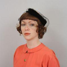 vintage 1950s hat / velvet tilt hat with by LivingThreadsVintage