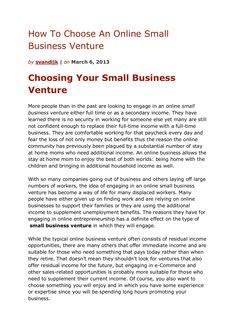how-to-choose-an-online-small-business-venture by Sander van Dijk via Slideshare
