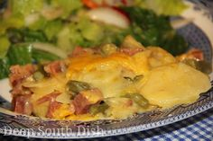 A delicious potato casserole, using both leftover vegetables and ham, baked in a creamy cheese sauce.  Ham and Potatoes au Gratin Casserol...