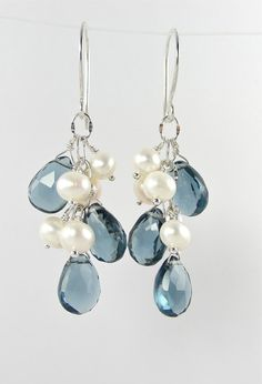 Blue Gemstone Earrings for Brides with Pearls by BlueRoomGems, $89.00 #somethingblue #jewelry #bridal #wedding #earrings