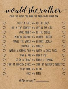 Would she be more of a bridal shower game. Bridal shower games - Would rather. Would she be more of a bridal shower game. Printable Bridal Shower Games, Wedding Shower Games, Wedding Games, Bridal Shower Gifts, Bridal Showers, Shower Party, Wedding Planning, Wedding Ideas, Baby Shower