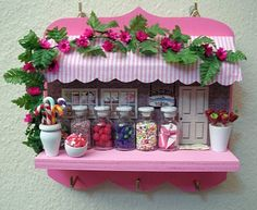 Handmade Key Holder Painted Wood with Decoupage Dried Flowers Polymer Clay Candies in little glass bottlesCan be in any color you want Doll House Crafts, Diy Home Crafts, Crafts To Make, Fun Crafts, Arts And Crafts, Miniature Crafts, Miniature Fairy Gardens, Polymer Clay Crafts, Diy Clay