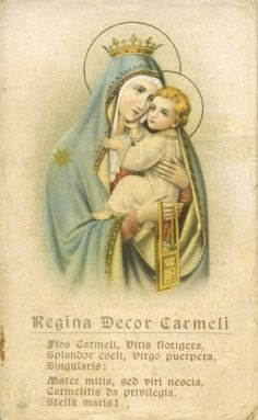 Regina Decor Carmeli Flower of Carmel,Tall vine blossom laden;Splendor of heaven,Childbearing yet maiden.None equals thee. Mother so tender,Who no man didst know,On Carmel's childrenThy favours bestow.Star of the Sea.