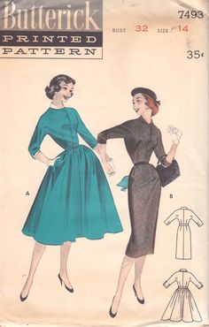 Butterick 7493 1950s Roll Collar Dress Pattern Stem Slim or Full Skirt womens vintage sewing pattern