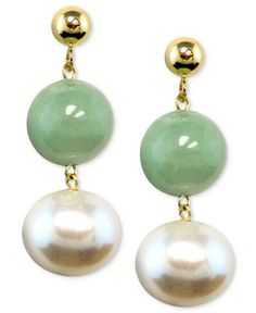 Focus on a fresh look with these beautiful earrings featuring cultured freshwater pearl (8 - 8-1/2mm) and jade (8mm) set in 14k gold. Approximate drop: 1 inch. | Photo may have been enlarged and/or en