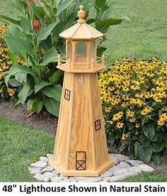 Amish-Made Wooden Lighthouse Yard Decoration in Oak Stain, 39 Tall Garden Lighthouse, Solar Lighthouse, Lighthouse Decor, Cedar Stain, Oak Stain, Wooden Windmill, Backyard Hammock, Bird Houses Diy, Scrap Wood Projects