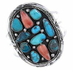 Navajo Turquoise And Red Oyster Shell Sterling Silver Cuff Bracelet BW65353 SilverTribe. $399.99