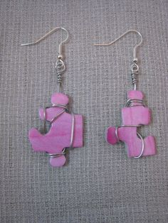 Handcrafted Puzzle Piece Wire Wrapped Earrings