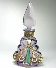 Czech Jeweled Perfume Bottle Amethyst by cristina