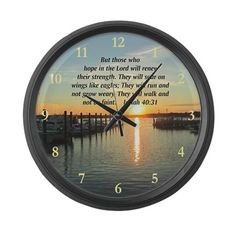 ISAIAH 40:31 Large Wall Clock Be inspired with our beautiful Christian and Spiritual Tees, Home Décor, and Gifts. www.cafepress.com/heavenlyblessings #Scripturegifts #Bibleversegifts #JesusChrist #Bornagain #Bibleverses