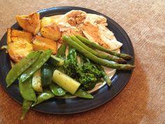Sunday treat; Roast chook with fat free garlic roasties, pumpkin and green.