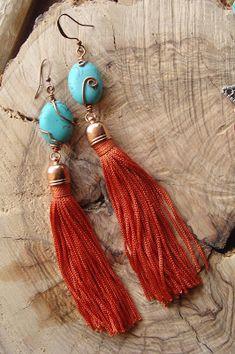 foto hand made jewels  Σκουλαρικια boho με τυρκουαζ, χαλκο και κοκκινη φο...      10€ Boho, Tassel Necklace, Jewelry, Fashion, Moda, Jewlery, Jewerly, Fashion Styles, Schmuck