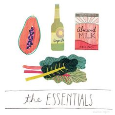 Illustrated Food Lists : essential groceries
