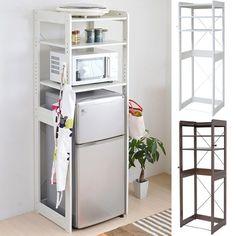 livingut: Rack refrigerator top rack kitchen shelves ( range stand alone Mini refrigerator shelves kitchen ) - Purchase now to accumulate reedemable points! Dorm Kitchen, Kitchen Shelves, Dorm Shelves, Mini Kitchen, Glass Shelves, Kitchen Decor, Fridge Shelves, Dorm Hacks, Ikea Hacks