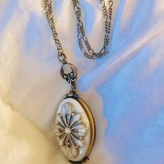 Jewels of New York Mother of Pearl Double Sided Evil Eye Sterling Silver 925 with Silvertone 18 Chain with Lobster Clasp 42mm x 16mm