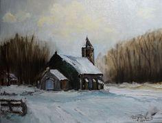 Kerkje in de sneeuw door Riet de Paauw