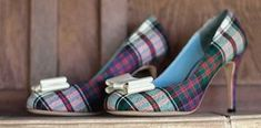 26 Impossibly Beautiful Scottish Wedding Ideas I would love to do something small like this just as a nod to grandma Scottish Wedding Dresses, Scottish Wedding Themes, Scottish Weddings, Scottish Wedding Traditions, Tartan Shoes, Tartan Plaid, Celtic Wedding, Irish Wedding, Wedding Events