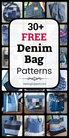Over 30 free denim bag purse patterns, tutorials, and diy sewing projects, mostly from jeans. Get ideas Denim Bags From Jeans, Artisanats Denim, Denim Tote Bags, Denim Purse, Diy Tote Bag, Diy With Jeans, Diy Bags Jeans, Denim Jean Purses, Diy Old Jeans