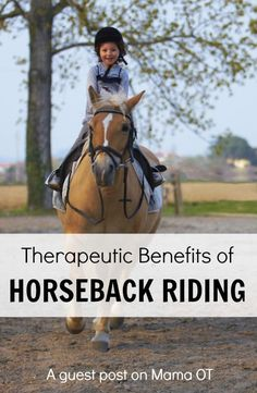A pediatric occupational therapist discusses the MANY benefits of riding horses! #pediOT #childdevelopment