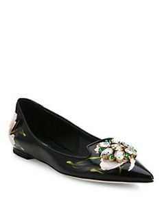 Dolce & Gabbana - Tulip Leather Skimmers