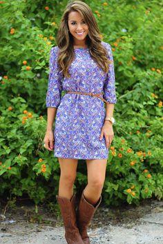 Pretty In Paisley Dress: Blue/Multi | Hope's