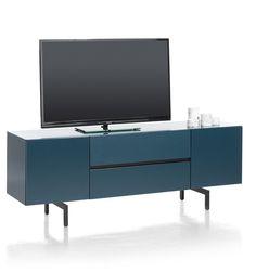 Lurano, lowboard 2-doors + 1-drawer+ 1-niche- 175 cm - in beautiful petrol