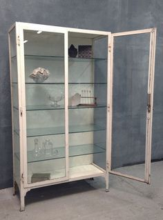 Antique Vintage 1920's Steel Glass Display Haberdashery Kitchen Medical Cabinet