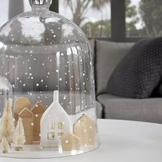 Our version of a snow globe....I hand painted this glass dome from @leeannyare Collected with @fatherrabbit ceramic house
