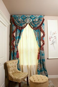 Blue Lantern Swag Valances Curtain Drapes   The dream combo of turquoise blue and gold makes Blue Lantern curtains a fantasy come true. The meticulous details of the pattern evoke the memory of the exotic land of far east. Luxurious and sophisticated, it is understated elegance at its finest.