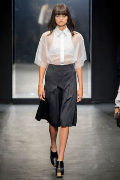 The masculine/feminine play was interesting to watch and the clothes so nicely cut—Wang has mastered the art. Showing athletic pieces under all the sheer looks brought that whole concept to a new place, too. Not that we expect brides to start wearing sports bras and anoraks any time soon, but stranger things have happened.   - HarpersBAZAAR.com