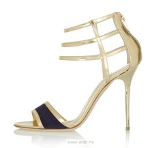 4.5 inch Gold Straps Leather shoes $41.98