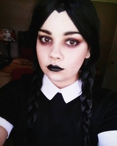 Wednesday Addams makeup test! Look inspired  by @madeyewlook #wednesdayaddams #makeup #goth #addamsfamily #halloween #halloweencostume #halloweenmakeup #dark #gothicmakeup #gothmakeup #scary #cosplay #cosplayer #cosplaygirl                                                                                                                                                                                 More