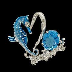Seahorse Floating Heart Blue Topaz Pendant.  Price: $380.00