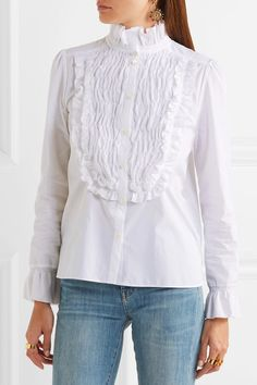 See by Chloé - Ruffle-trimmed Smocked Cotton-poplin Shirt - White - FR44