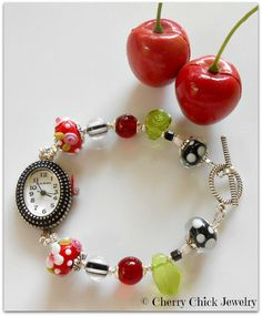 Cherry Bracelet Watch,  Bracelet Watch, Beaded Watch by Cherry Chick