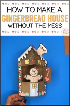 Make a gingerbread house and gingerbread man without the mess! These printables are a fun craft for Kindergarten, first grade, and second grade students. Students can decorate a gingerbread house and gingerbread man as a literacy activity. After they build and decorate their gingerbread they can write a story using one of the gingerbread themed writing prompts. #gingerbreadmanactivities #Christmaswritingactivities #gingerbreadhouses