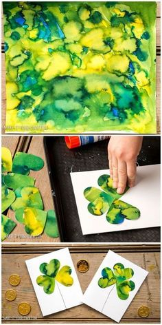 Kid-Made Watercolor Shamrock Clover Cards. Easy St. Patrick's Day art project for kids! | Art Project For Kids, Kid Art Projects, Preschool Art, Patrick O'brian, Clovers, Saint Patricks Day Art, St Patricks Day Cards, Kid Crafts, Watercolors #kidscrafts
