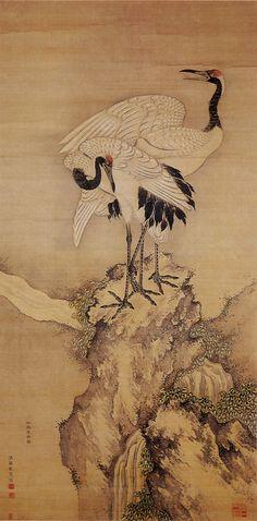A pair of Cranes by Yuhi KUMASHIRO (1712-1773), Japan 熊代 熊斐