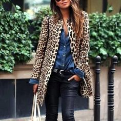 Take a look at 15 gorgeous leopard print outfits for fall and winter in the photos below and get ideas for your own outfits! An all-black outfit with a camel scarf and leopard-print boots. Leopard Print Outfits, Leopard Jacket, Animal Print Outfits, Leopard Print Coat, Leopard Prints, Leopard Scarf, Leopard Cardigan Outfit, Leopard Clothes, Leopard Fashion