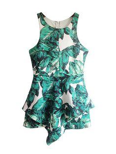 314046e47ef8 Green Palm Leaf Printing Asymmetrical Hem Rompers for Woman
