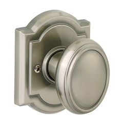 Baldwin 351CYK-ARB Carnaby Style Dummy Door Knob with Arched Rosette from the Pr Satin Nickel Knobset Single Dummy