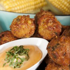 Sweet Corn Fritters with Spicy Honey Aioli